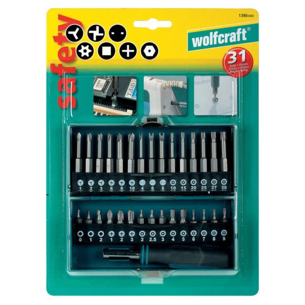 wolfcraft Kombi-Sicherheitsbit-Box 31-tlg. 1386000