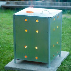 Nature Garten Verbrennungsofen Verzinkter Stahl 46x46x65 cm Quadrat