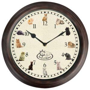Esschert Design Uhr mit Katzengeräuschen
