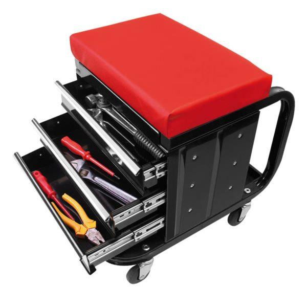 ProPlus Mobiler Werkstatt-Rollcontainer-Sitz mit Lagerfächern 580526