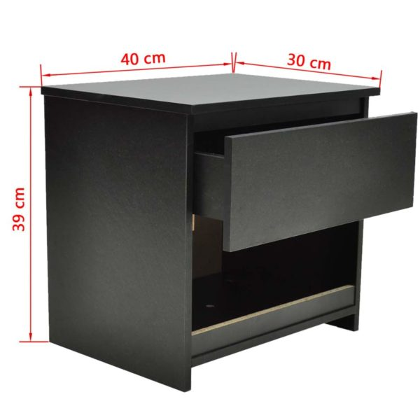 Nachttische 2 Stk. mit 1 Schublade Schwarz