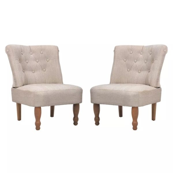 Französische Sessel 2 Stk. Creme Stoff