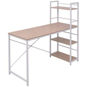 Schreibtisch mit Bücherregal mit 4 Böden Eiche