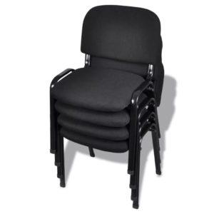 Stapelbare Bürostühle 4 Stk. Stoff Schwarz