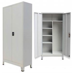 Schließfachschrank mit 2 Türen Stahl 90x40x180 cm Grau