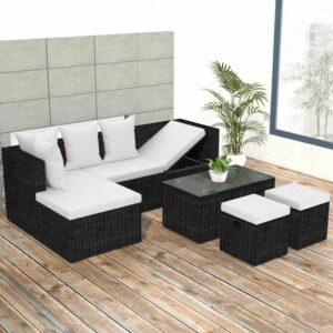 4-tlg. Garten-Lounge-Set mit Auflagen Poly Rattan Schwarz