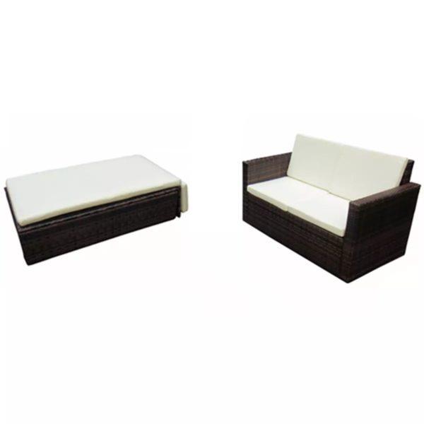 2-tlg. Garten-Lounge-Set mit Auflagen Poly Rattan Braun
