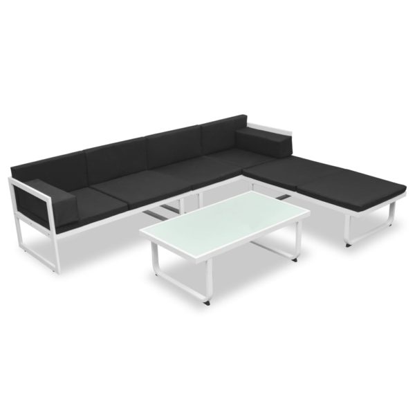 4-tlg. Garten-Lounge-Set mit Auflagen Aluminium Schwarz