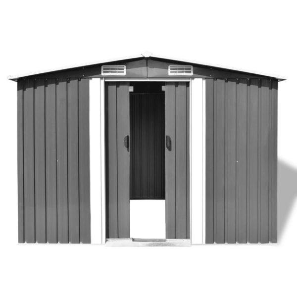 Gartenschuppen Grau Metall 257 x 205 x 178 cm