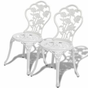 Bistro-Stühle 2 Stk. Aluminiumguss Weiß