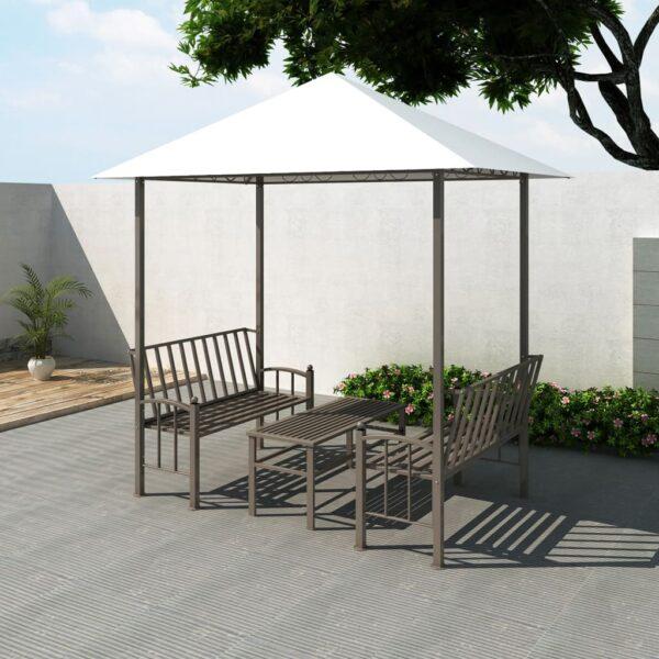 Gartenpavillon mit Tisch und Bänken 2,5 x 1,5 x 2,4 m