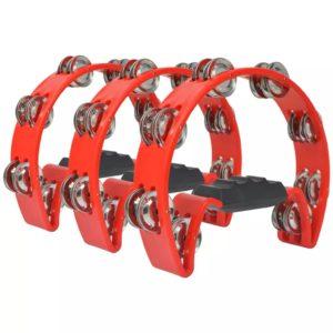 Tamburin Set 3 Stk. Kunststoff Rot