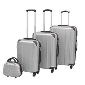 Vierteiliges Hartschalen-Trolley-Set Silber