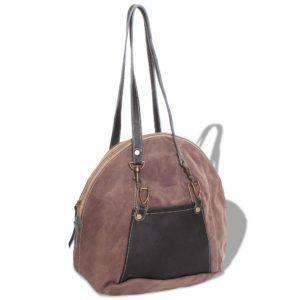 Handtasche Canvas und Echtleder Braun