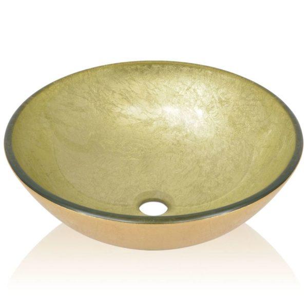 Waschbecken Hartglas 42 cm Gold