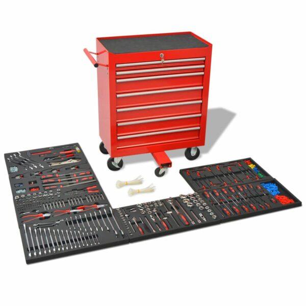 Werkstattwagen mit 1125 Werkzeugen Stahl Rot