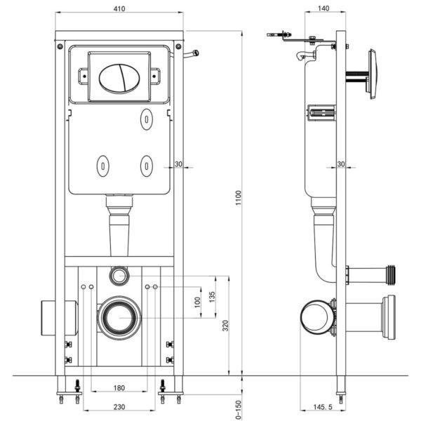 Unterputz Spülkasten 11 L 41x14x(110-125) cm