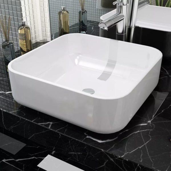 Waschbecken Quadratisch Keramik Weiß 38 x 38 x 13,5 cm