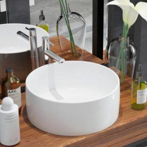 Waschbecken Rund Keramik Weiß 40 x 15 cm