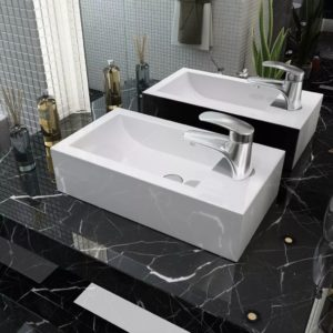 Waschbecken Rechteckig mit Hahnloch Keramik Weiß 46×25,5×12 cm