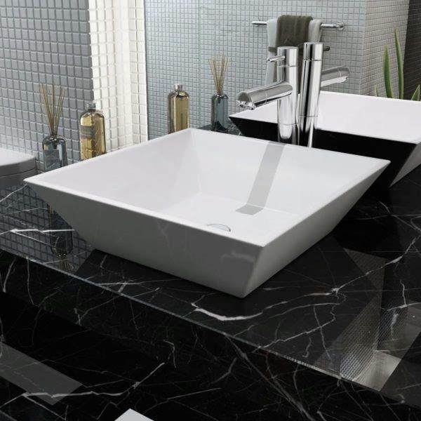 Waschbecken Quadratisch Keramik Weiß 41,5 x 41,5 x 12 cm