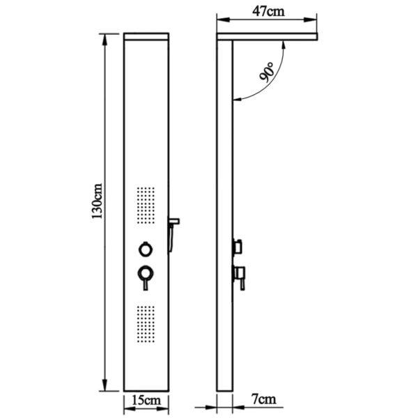 Duschpaneel-System Aluminium Mattschwarz