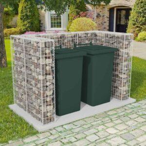 Gabionen-Mülltonnenverkleidung für 2 Tonnen Stahl 180×100×120cm