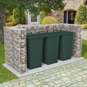 Gabionen-Mülltonnenverkleidung für 3 Tonnen Stahl 250×100×120cm