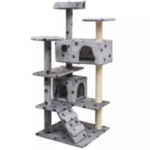 Katzen-Kratzbaum 125 cm Pfoten-Aufdruck Grau
