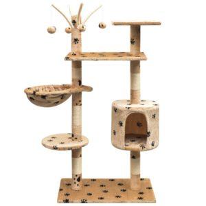 Katzen-Kratzbaum 125 cm Beige mit Pfoten-Aufdruck