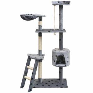 Katzen-Kratzbaum 150 cm Pfoten-Aufdruck Grau