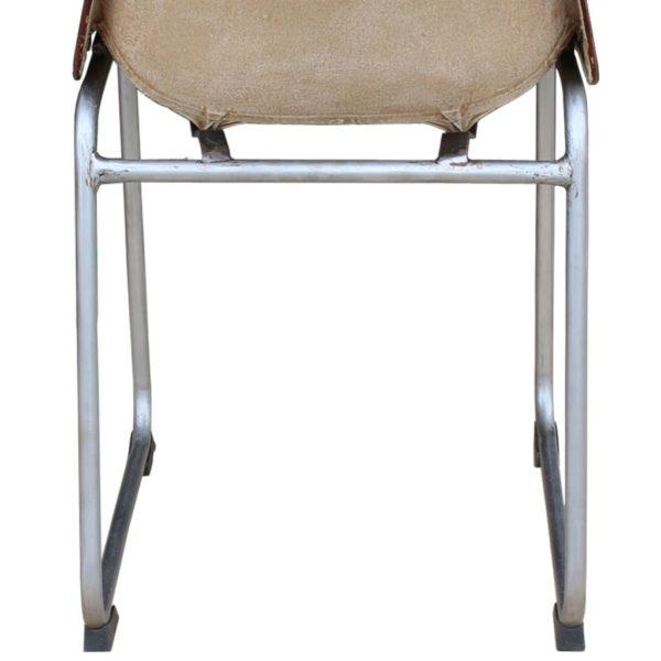Esszimmerstühle 2 Stk. Braun/Beige Echtleder und Kanevas