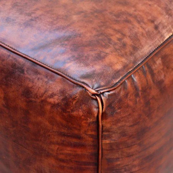 Sitz-Pouf Echtleder Quadratisch Braun 45x45x45 cm