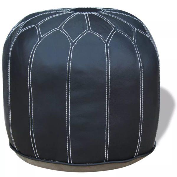 Pouf Echtleder rund grau 48x48x38 cm