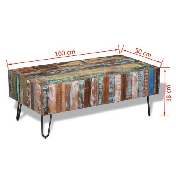 Couchtisch Recyceltes Massivholz 100×50×38 cm