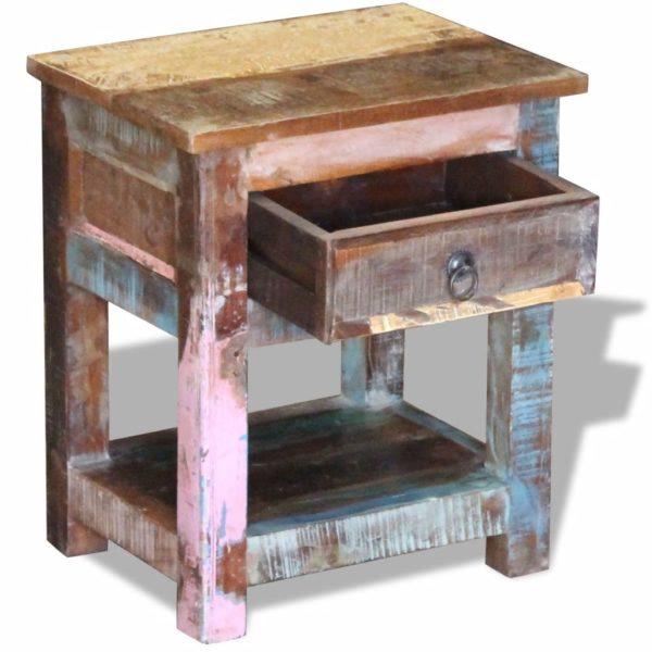 Beistelltisch mit 1 Schublade Altholz Massiv 43x33x51 cm