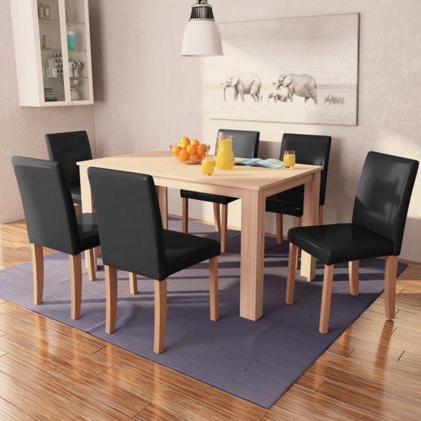 Esszimmertisch und Stühle 7-tlg. Kunstleder Eiche Schwarz