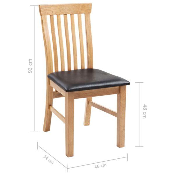 Esszimmerstühle 2 Stk. Massivholz Eiche und Kunstleder
