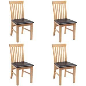 Esszimmerstühle 4 Stk. Massivholz Eiche und Kunstleder