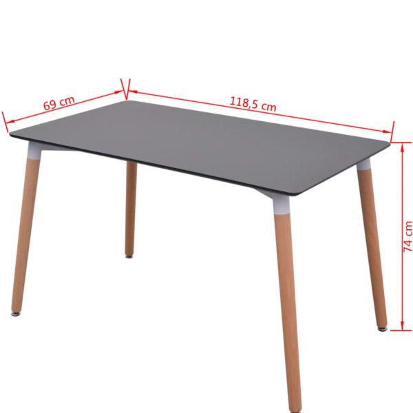 7-teilige Essgruppe Tisch Stühle Schwarz
