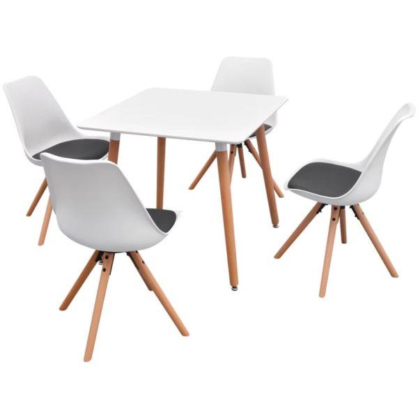 5-teilige Essgruppe Tisch Stühle Weiß und Schwarz