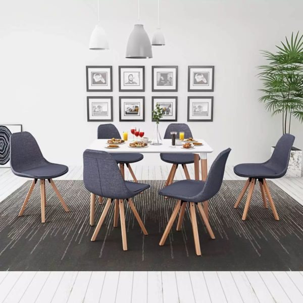 7-teilige Essgruppe Tisch Stühle Weiß und Dunkelgrau
