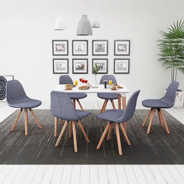 7-teilige Essgruppe Tisch Stühle Weiß und Hellgrau