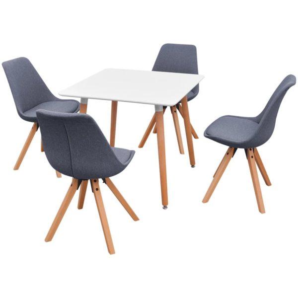 5-teilige Essgruppe Tisch Stühle Weiß und Hellgrau