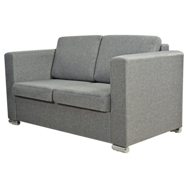 2-Sitzer Sofa Stoff Hellgrau