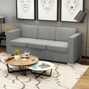 3-Sitzer Sofa Stoff Hellgrau