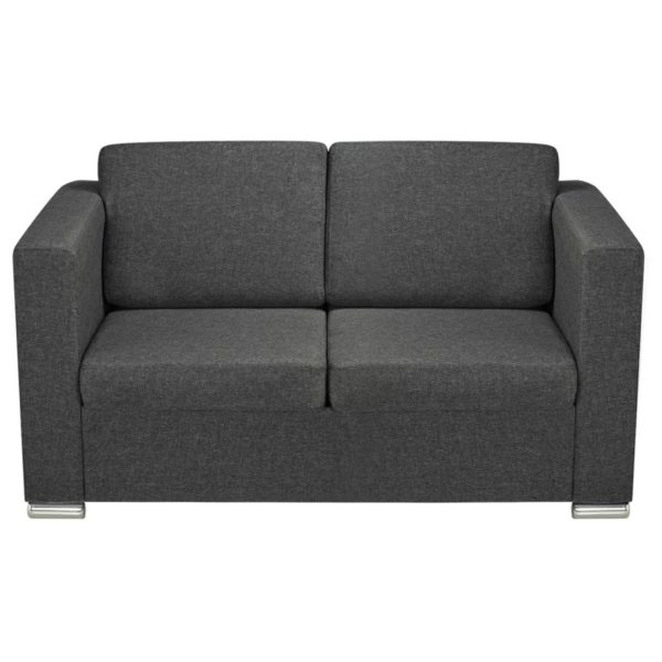 2-Sitzer Sofa Stoff Dunkelgrau