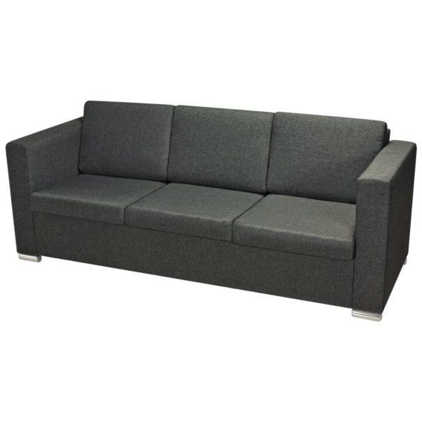 3-Sitzer Sofa Stoff Dunkelgrau