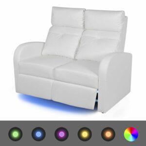LED-Ruhesessel 2-Sitzer Kunstleder Weiß
