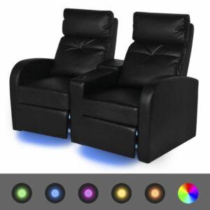 LED-Ruhesessel 2-Sitzer Kunstleder Schwarz